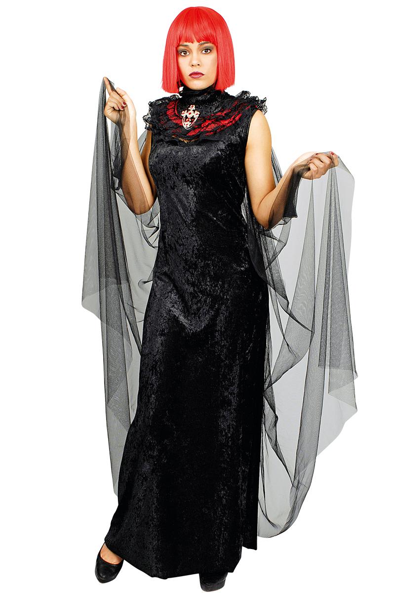 Umhang Vampir Gothic,Spitzen Stehkragen + Kreuz schwarz rot Damen