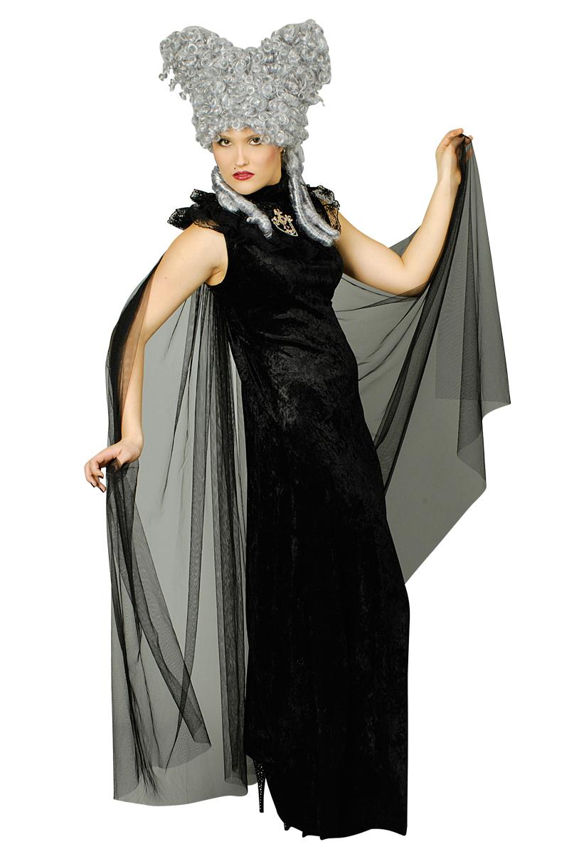 SET, Kleid+Tüll Umhang Vampir Dracula Gothic,Kostüm schwarz Damen