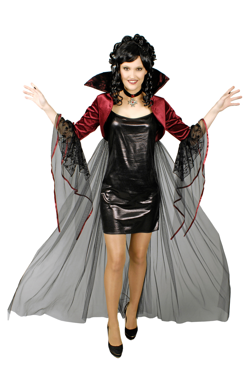 Umhang Bolero Hexe Vampir Gothic,Spitzen Stehkragen + Kreuz schwarz rot Damen