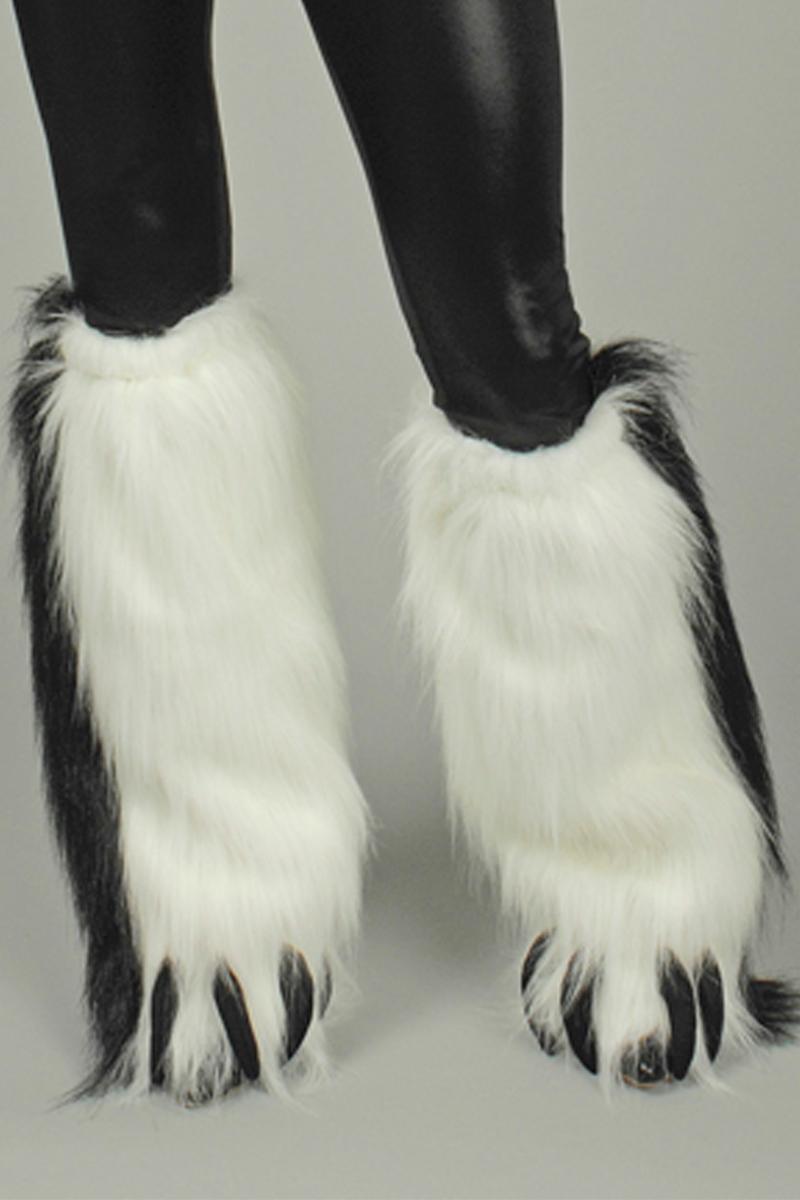 2 Fellstulpen, Plüsch Katze mit Krallen weiß schwarz Damen Karneval