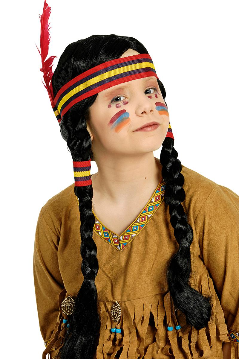 Indianer Perücke schwarz mit Zöpfen, Feder Kinder Mädchen Karneval