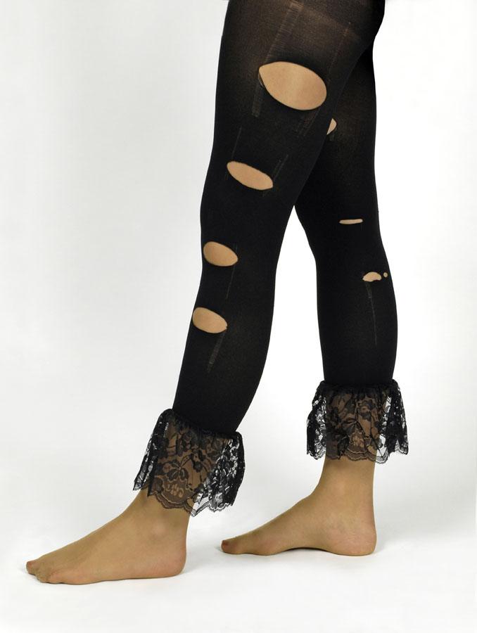 Gothic Legging Strumphose schwarz, Löcher Risse Spitzenrand, 34,36,38