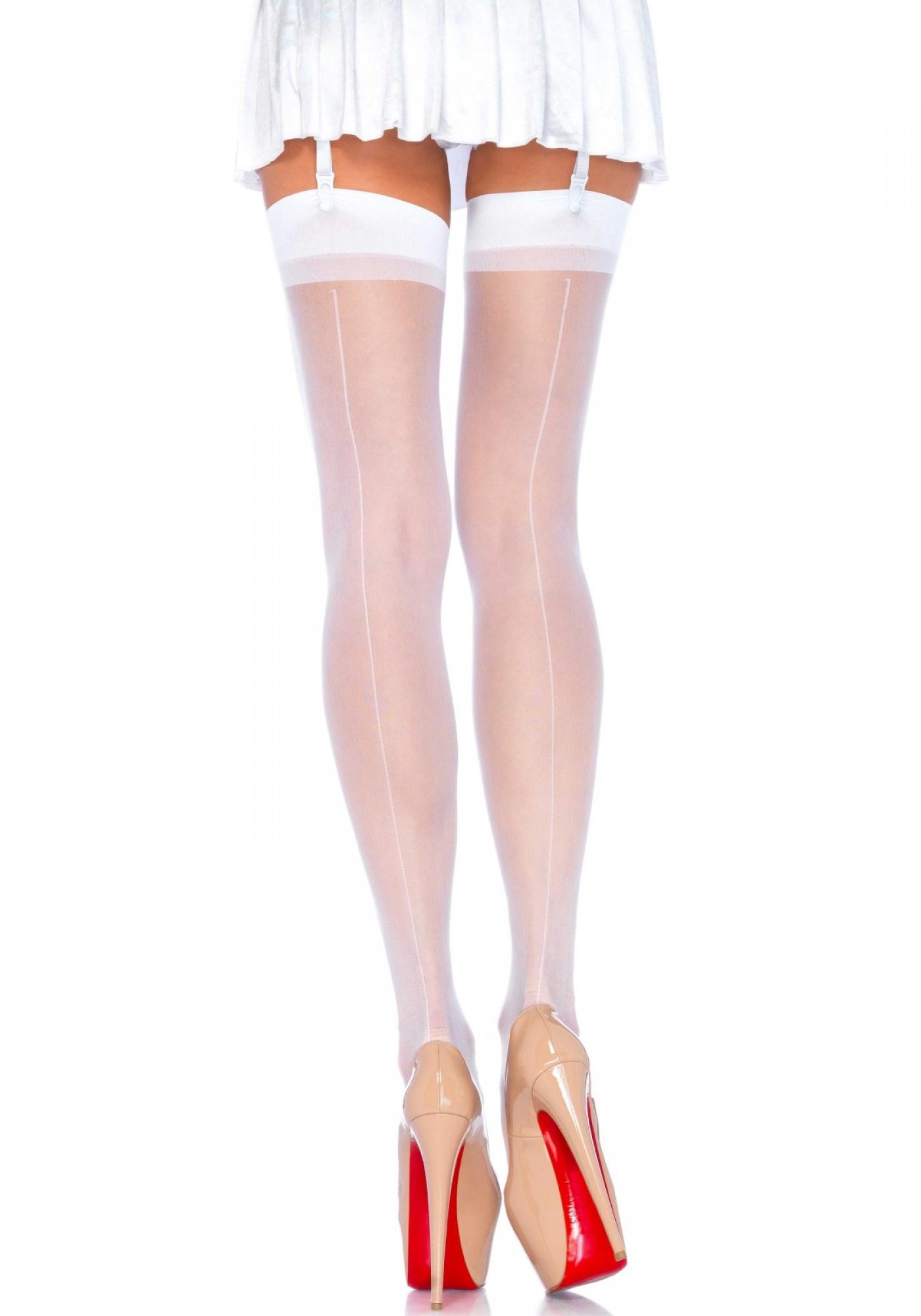 gutes Geschäft große Vielfalt Modelle riesiges Inventar Details zu Halterlose Strümpfe Stocking weiss Naht Damen Leg Avenue 38-40