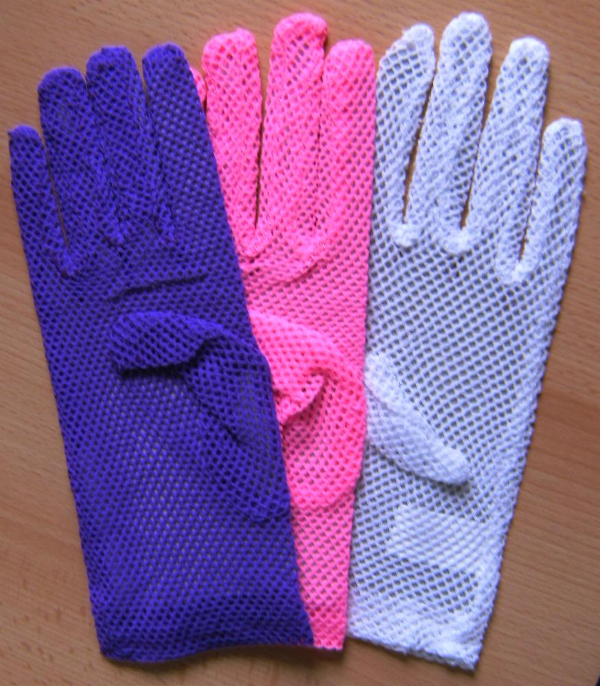 Neon Fingerhandschuhe, Netzhandschuhe, LILA Karneval Mottoparty