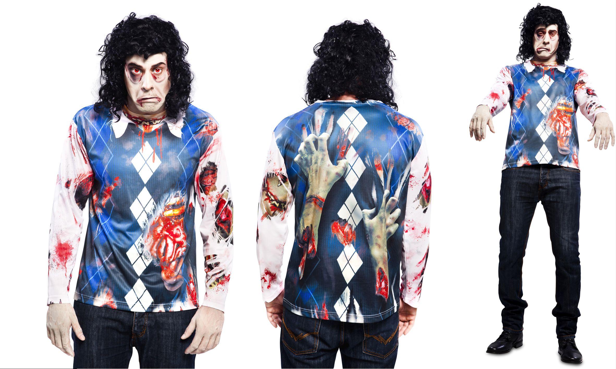 Zombie Untoter Fotorealistisches Fun T Shirt Motiv Halloween M, L XL
