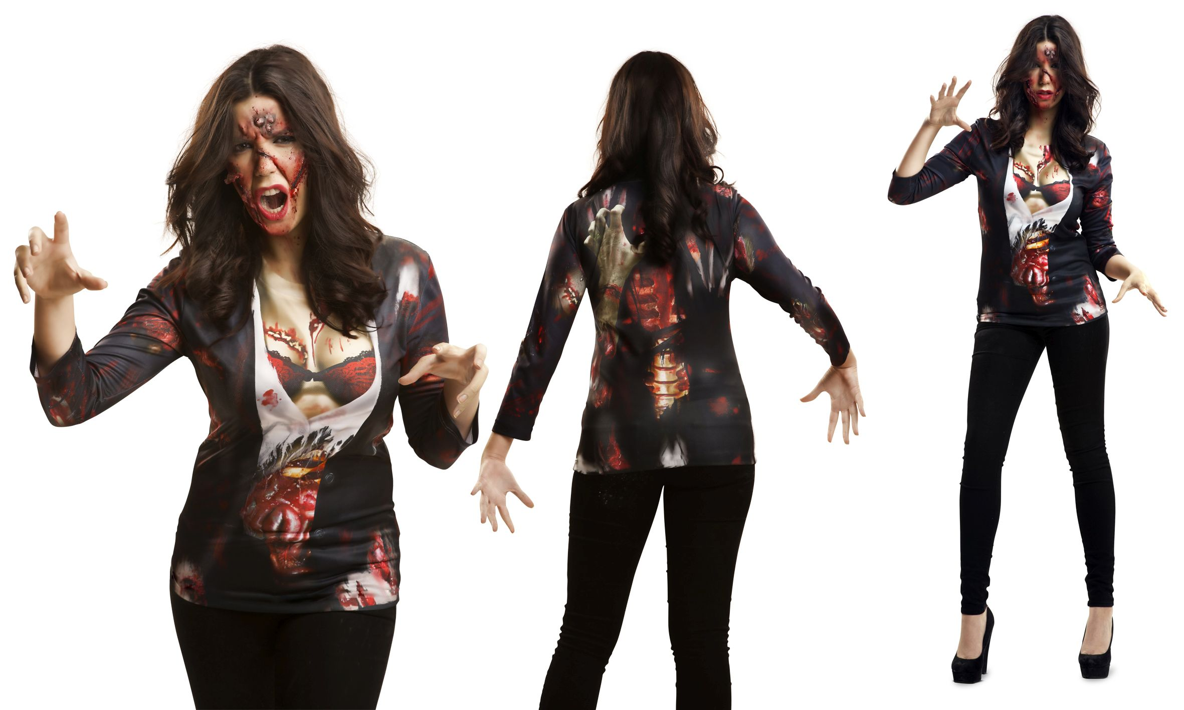 Zombie Frau Untote Fotorealistisches Fun T Shirt Motiv Halloween S, M