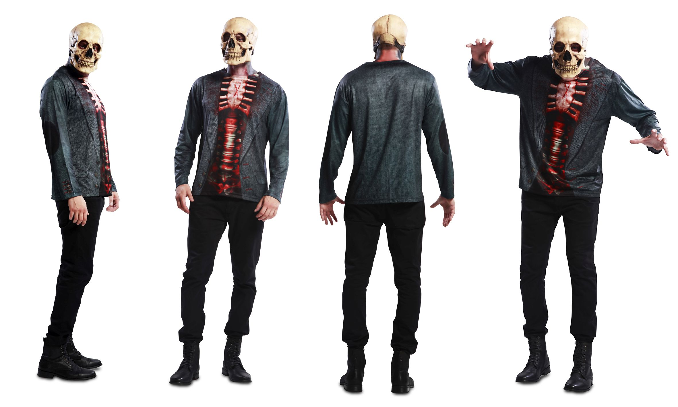 Skeleton Fotorealistisches Fun T Shirt Motiv Halloween S, M, L XL