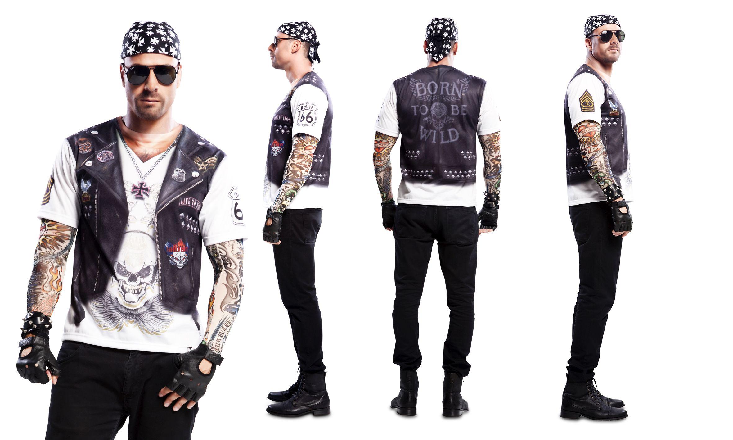 Biker Rocker Fotorealistisches T Shirt Gesamtmotiv Karneval S, M, L
