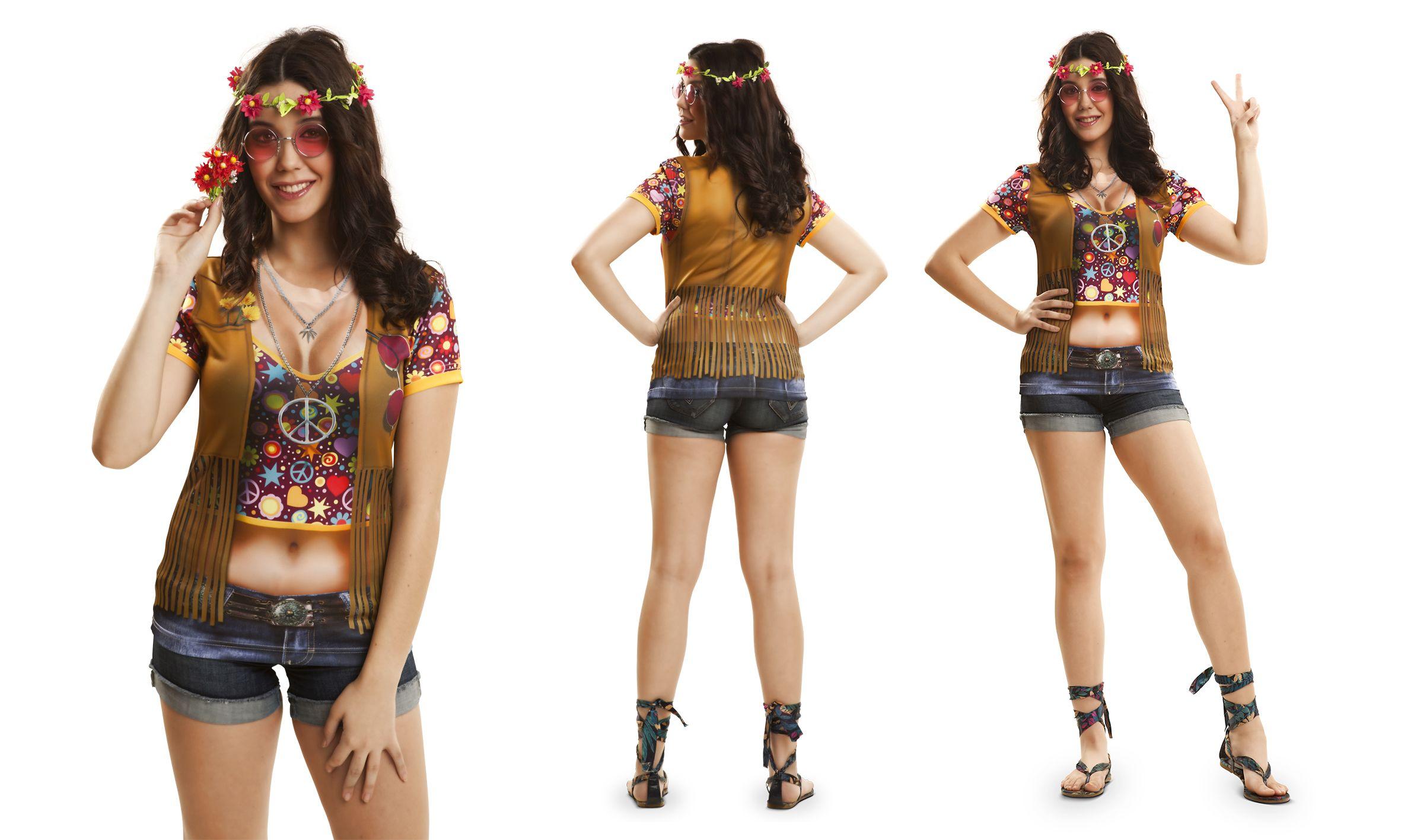 hippie t shirt 60er 70er jahre damen top fotodruck s m l. Black Bedroom Furniture Sets. Home Design Ideas