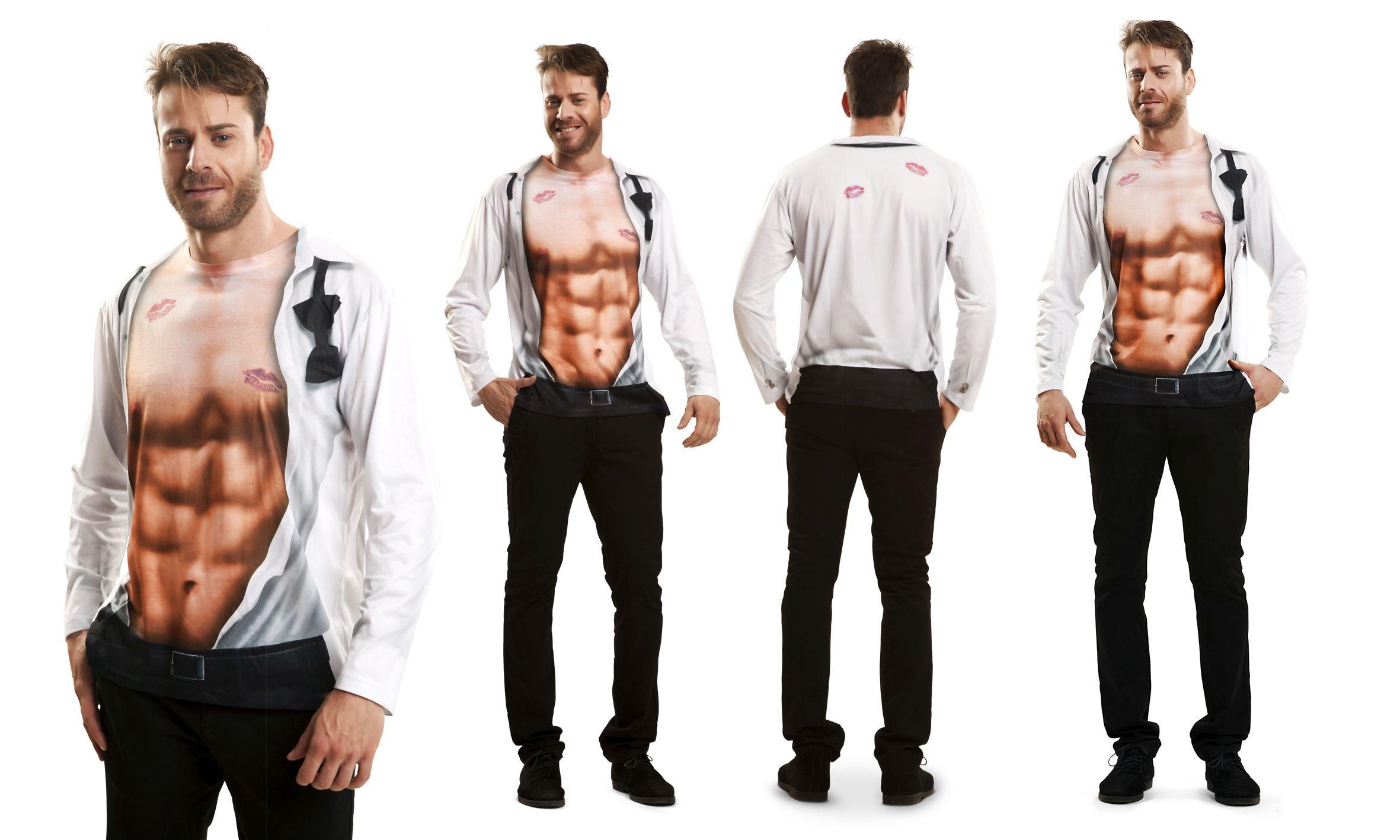 Sexy Boy T-Shirt offenes Hemd Kussmund Karneval Junggesellenabschied