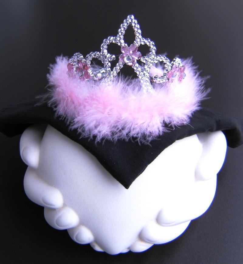 Diadem, Krone  silber/rosa Marabou Federn, Kinder, Prinzessin