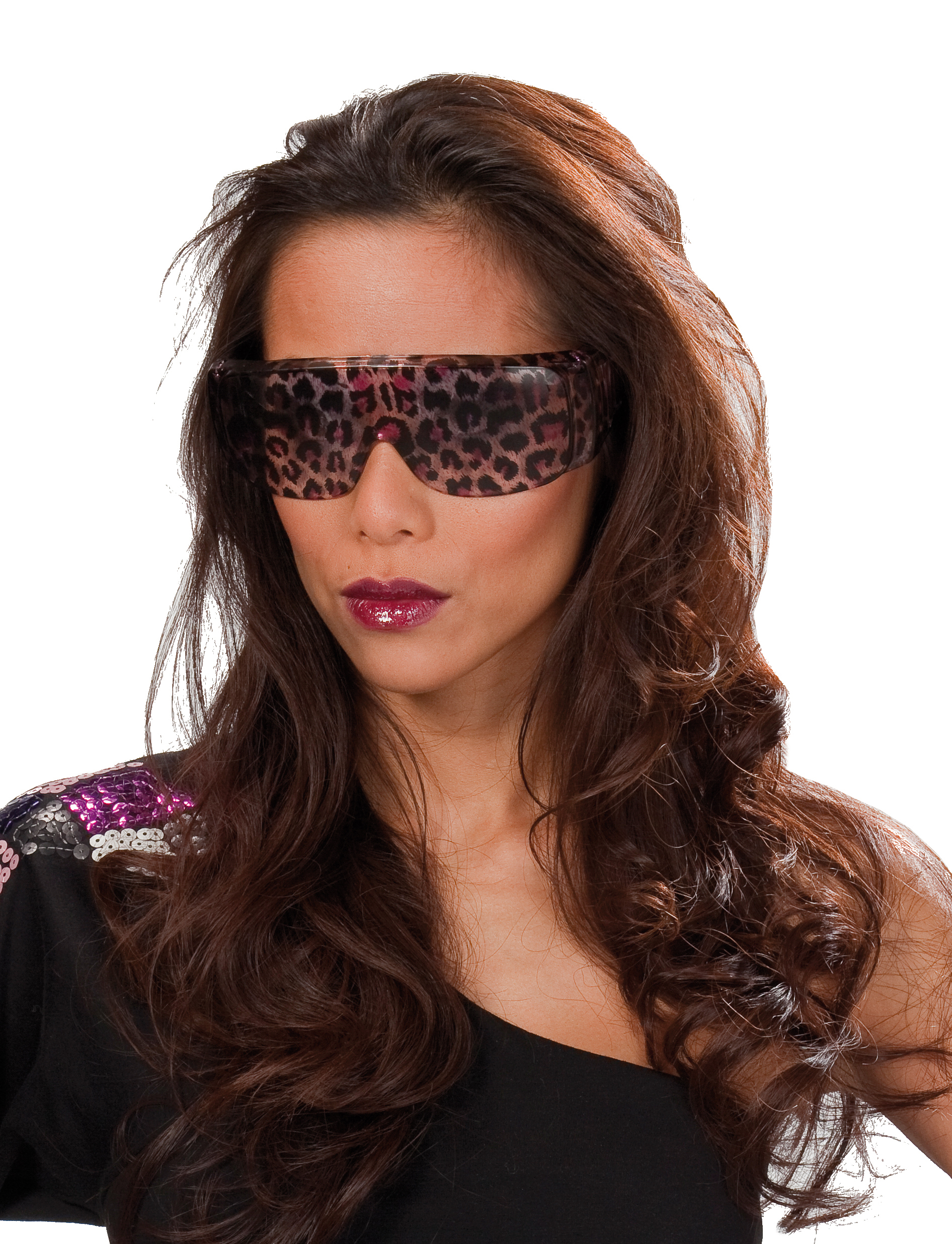 Brille Leopard Leo braun-pink , Motto Party Karneval Damen, Angebot