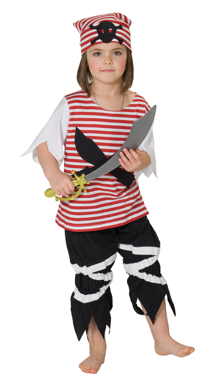 3 tlg.Piratenkostüm, Pirat Kinder rot-schwarz,Karneval 116,128,140,152
