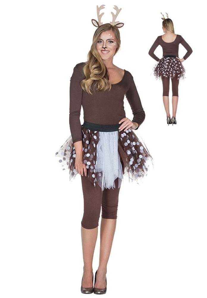 Rehkitz Reh Kostum Petticoat Passender Haarreif Damen Kinder Aqua