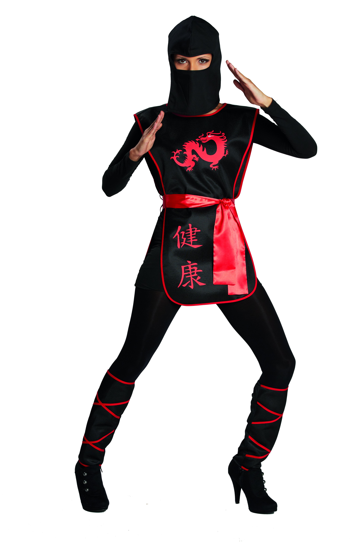 4 tlg. Ninja Kriegerin Kostüm Damen Dragon schwarz rot 36-38-40-42
