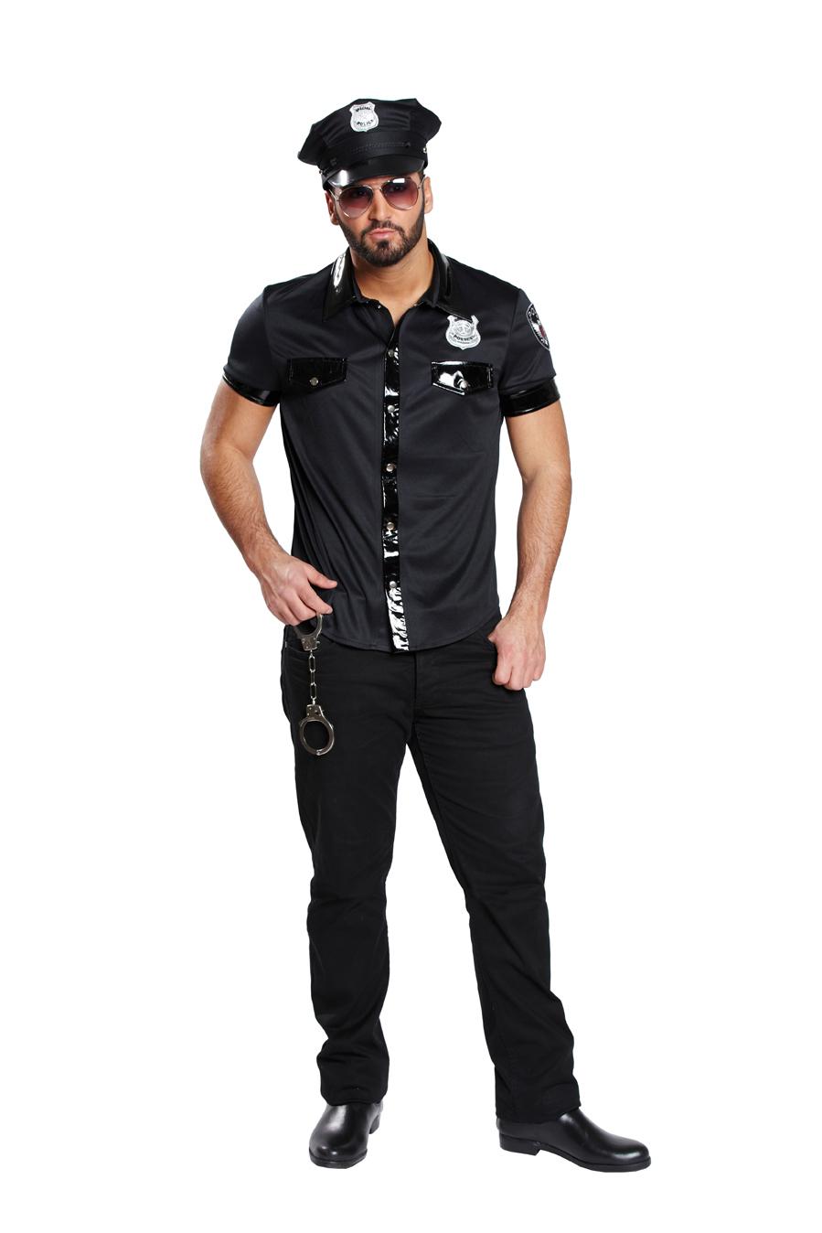 3 tlg.Sexy POLIZEIHEMD Herren schwarz Lackleder Optik L =52 + Polizeihut+Brille