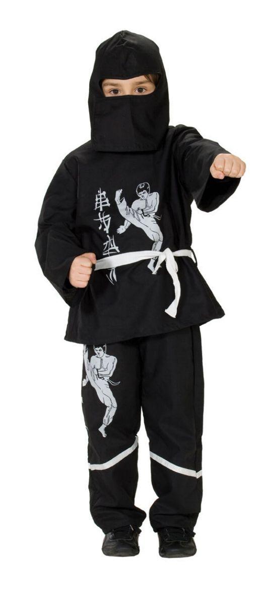 3tlg. Ninja Kostüm Kinder schwarz-weiß, 128, 140, 152, 164