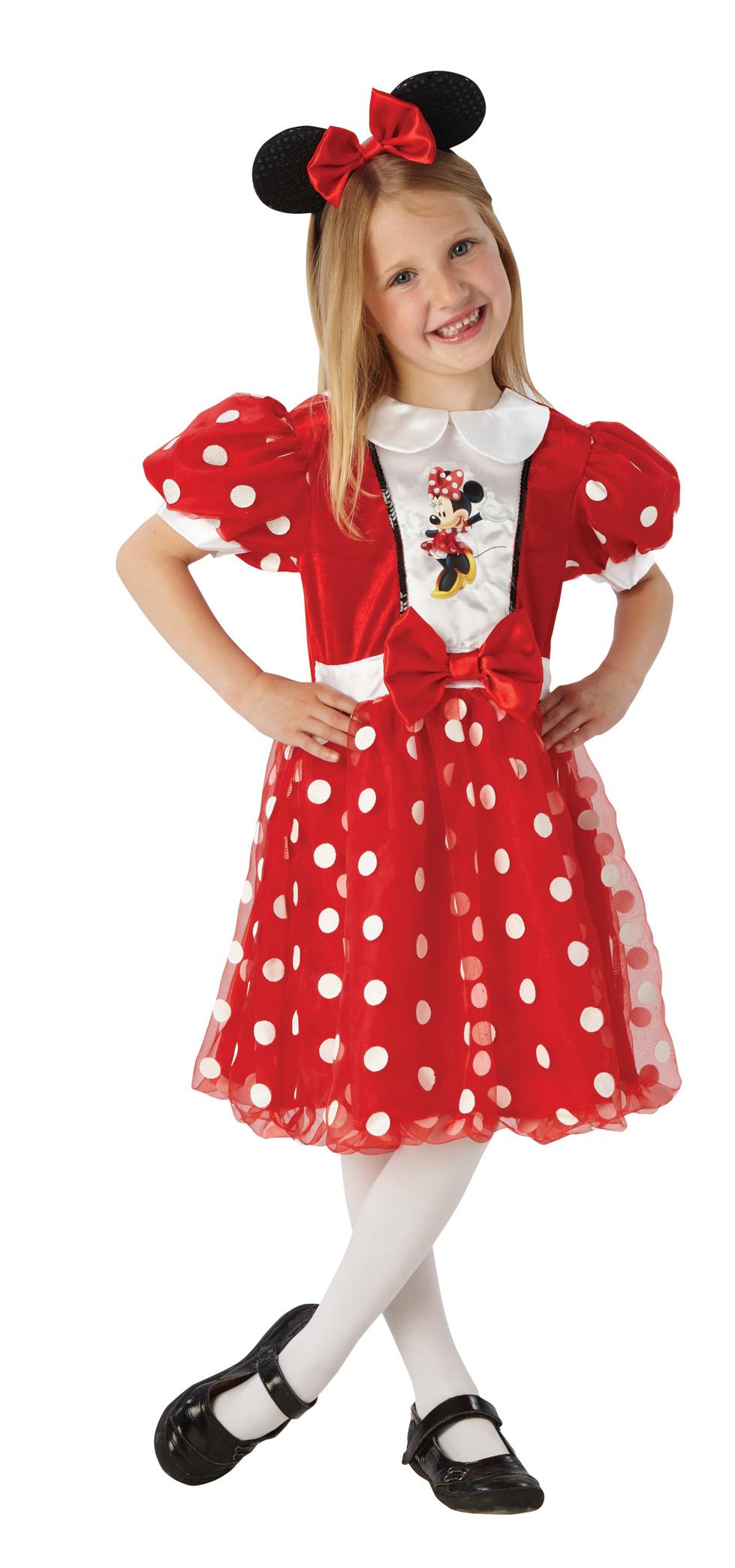 Minnie Mouse Maus LIZENZ Kostüme Mädchen rot-glitzer + Strumpfhose