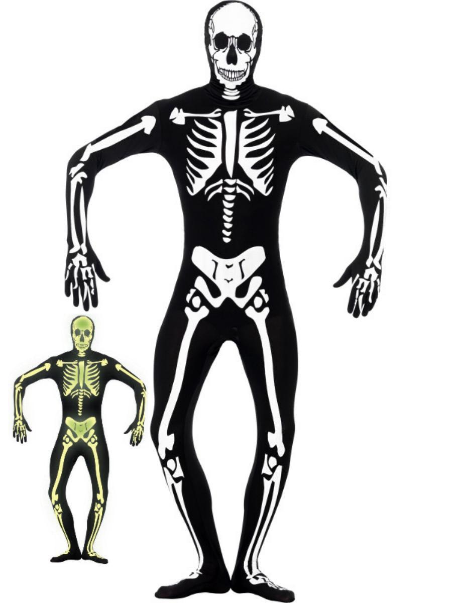 GANZKÖRPER Kostüm, SKELETT leuchtend Second Skin, S, M, L, XL