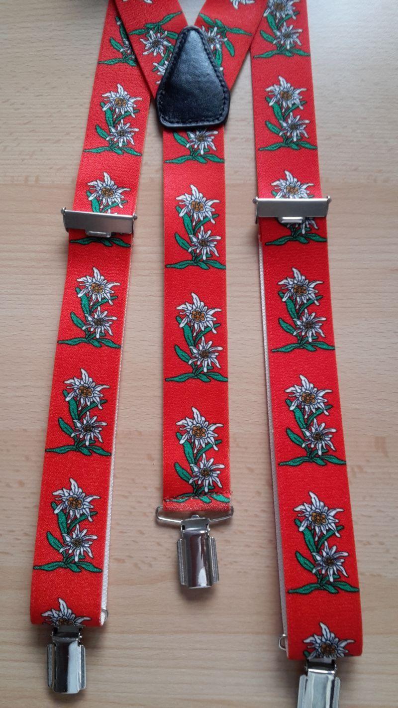 Hosenträger Y-Form Herren Damen extra breit 35 mm Edelweiß rot grün schwarz blau