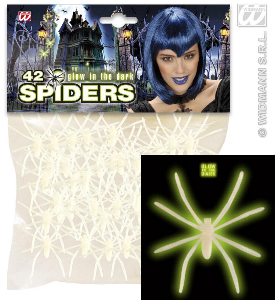 42 Spinnen 5 cm, leuchten im dunkeln Halloween, 5381