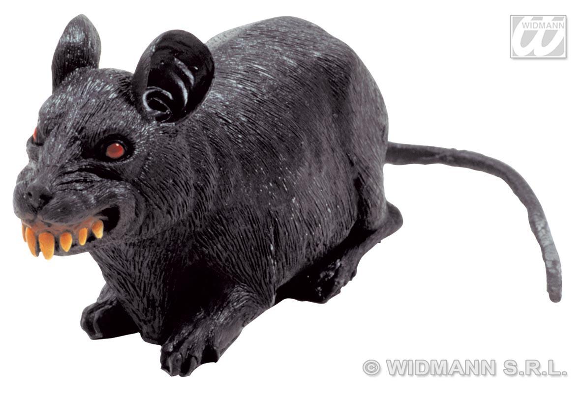 Riesen XL Horror Ratte, rote Augen, große Zähne Deko, Filmdeko Horror