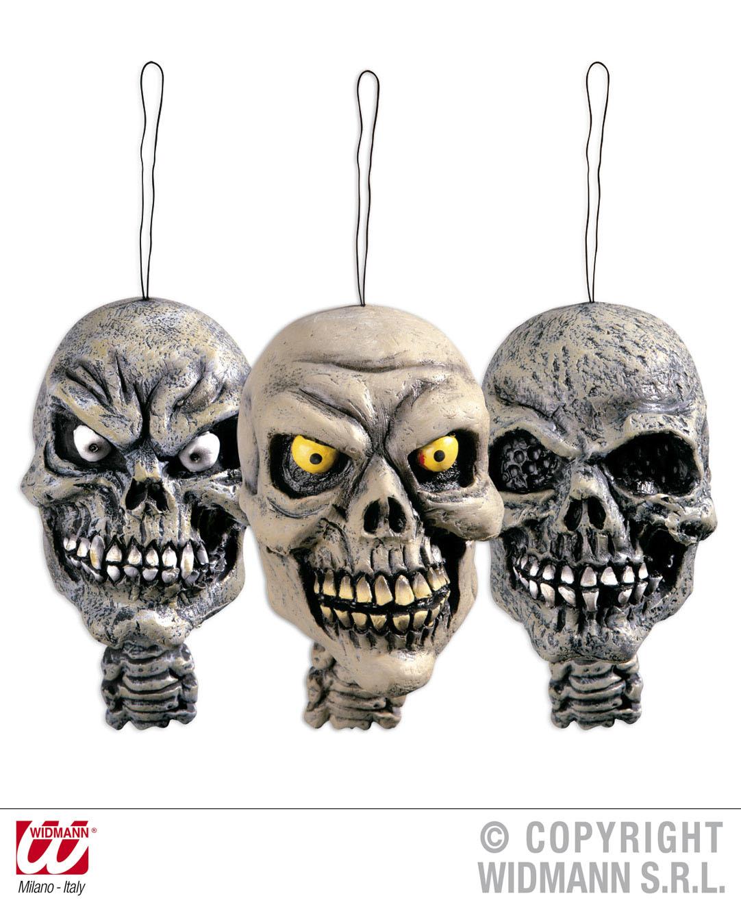 3x abgetrennter Kopf zum Hängen, Schrumpfkopf Deko Halloween,Tischdeko
