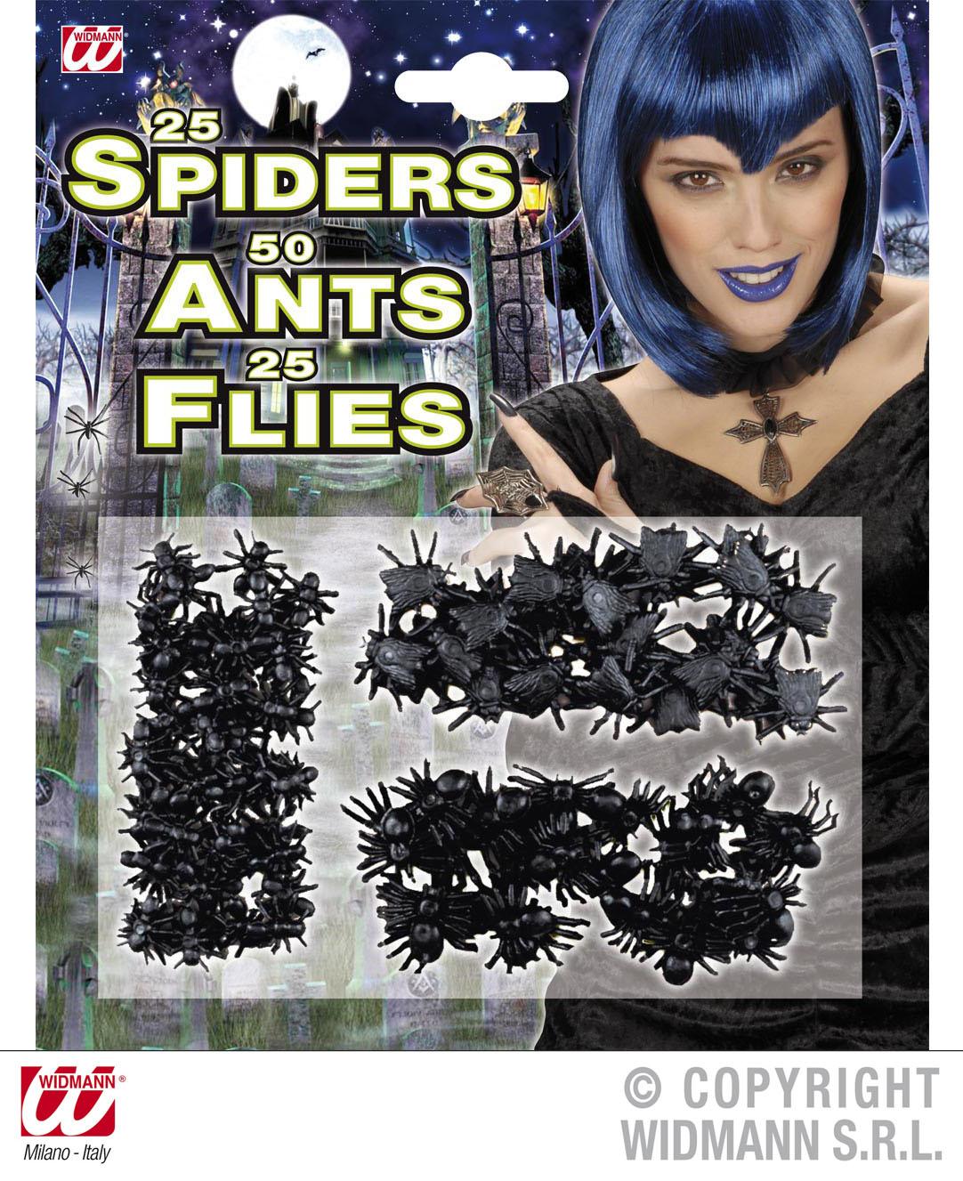 100 Stück, Spinnen, Ameisen, Fliegen, Deko, Tischdeko