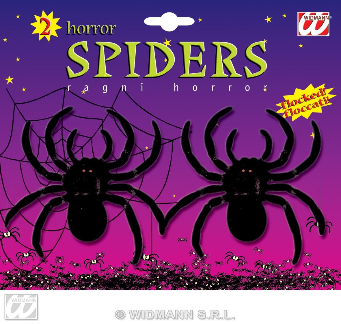2 schwarze Spinnen, weiche Oberfl. Deko, Halloween  8257