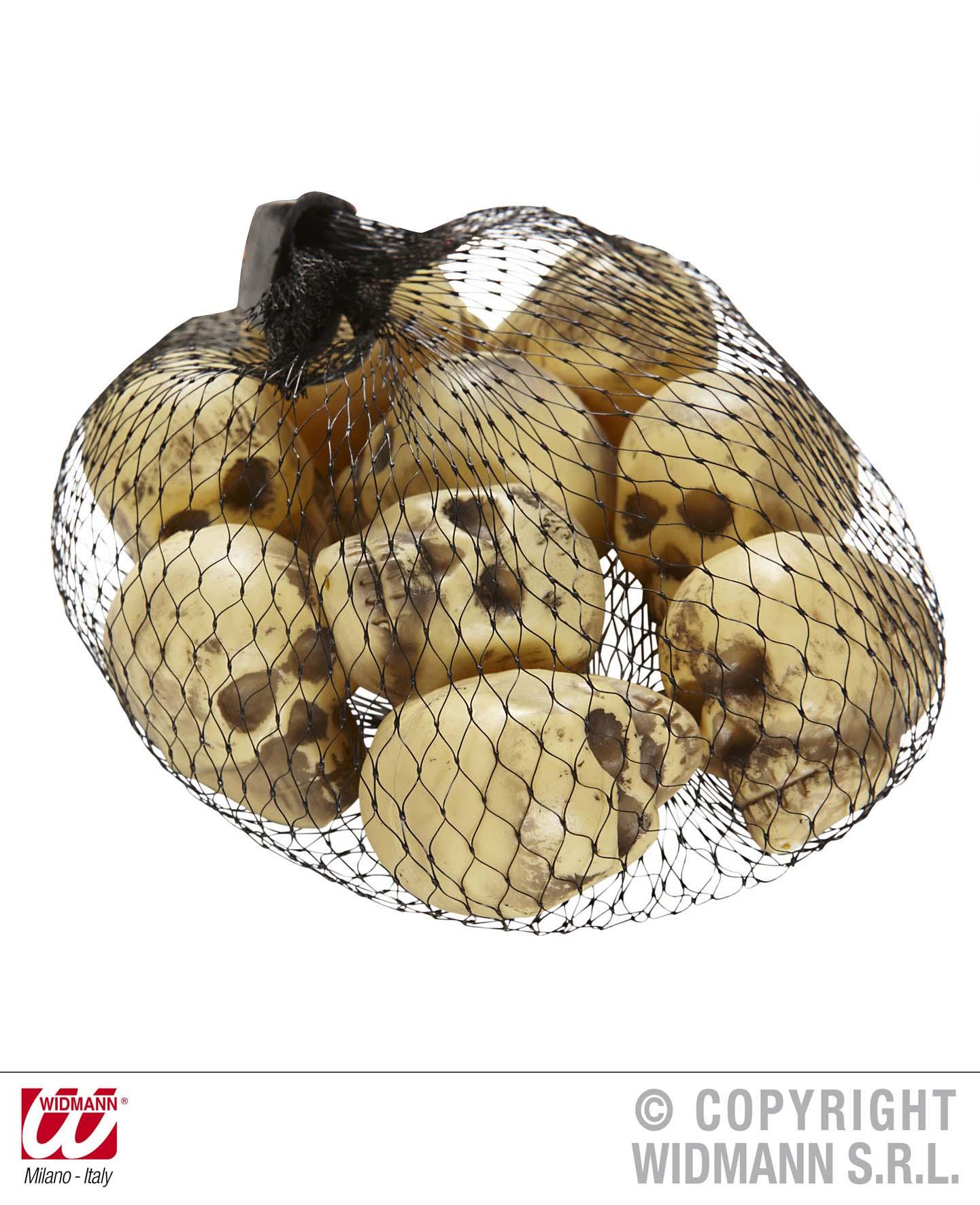 9 Stck. Totenköpfe Schädel klein im Netz ca. 5 cm DEKO Grusel, 8705