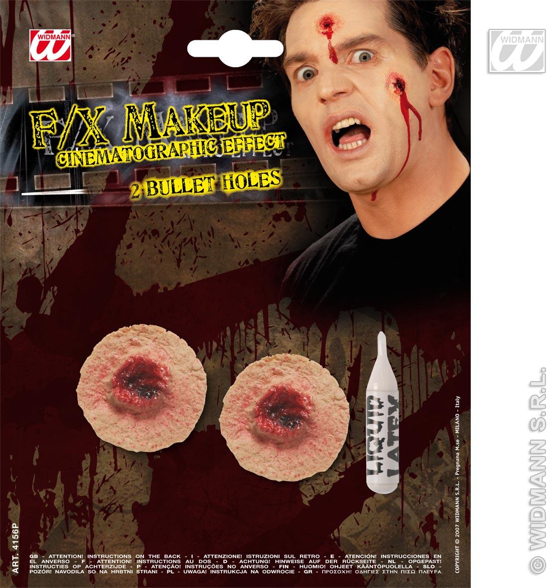 2 Einschußlöcher Profi Effekte, Halloween, Horror  4156