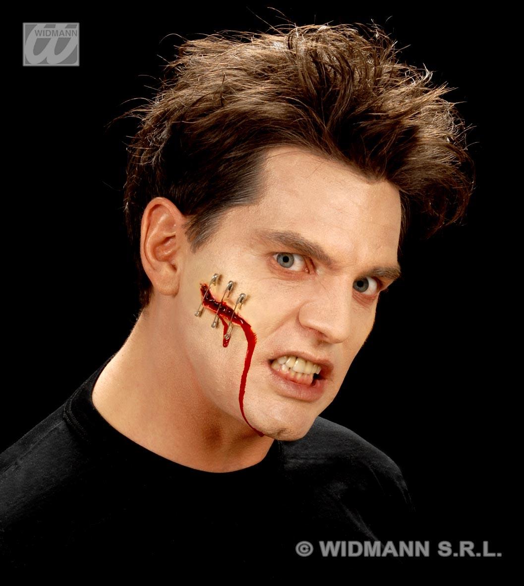geklammerte Rißwunde,Latex, Sicherheitsnadeln, Effekte Halloween 4160