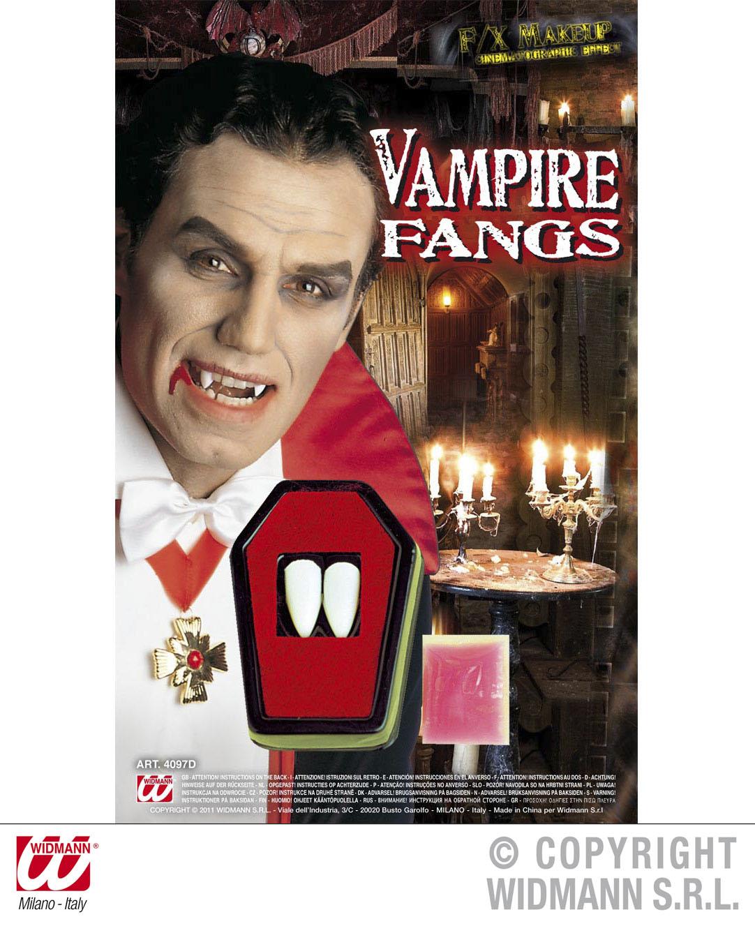 Dracula Vampir Eckzähne, Aufsteckzähne, Gebiss Zähne wie echt!
