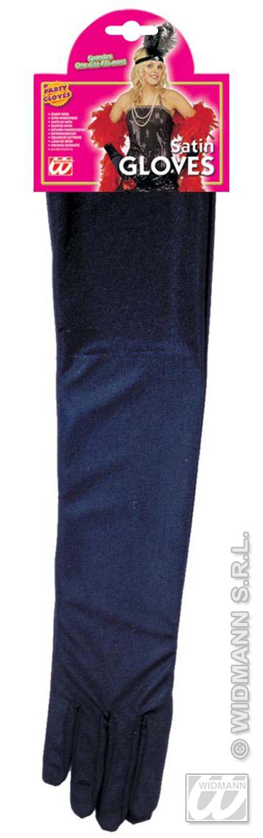 Satin Handschuhe lang Damen, schwarz, ca.43cm, Elasthan Glamour