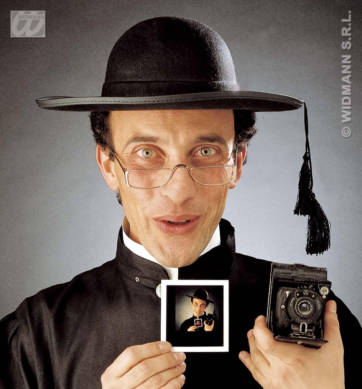 Priesterhut,Pfarrer, Hut z.Kostüm, mit Kordel 2812
