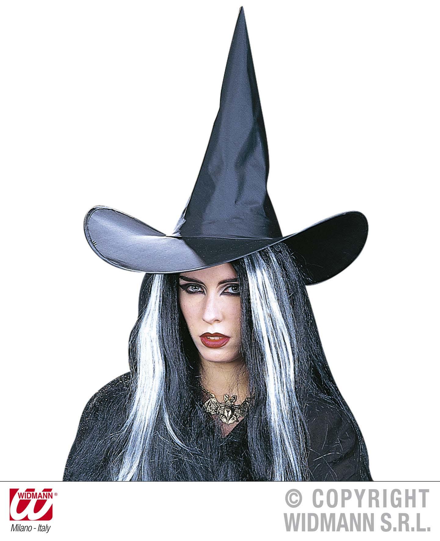 Hexenhut mit Draht, Witch schwarz Damen  Karneval, Halloween
