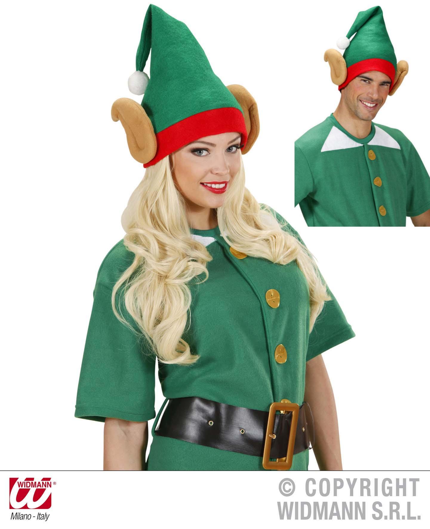 Elf Mütze mit Ohren, Weihnachtselfmütze,Zipfelmütze rot-grün 5374