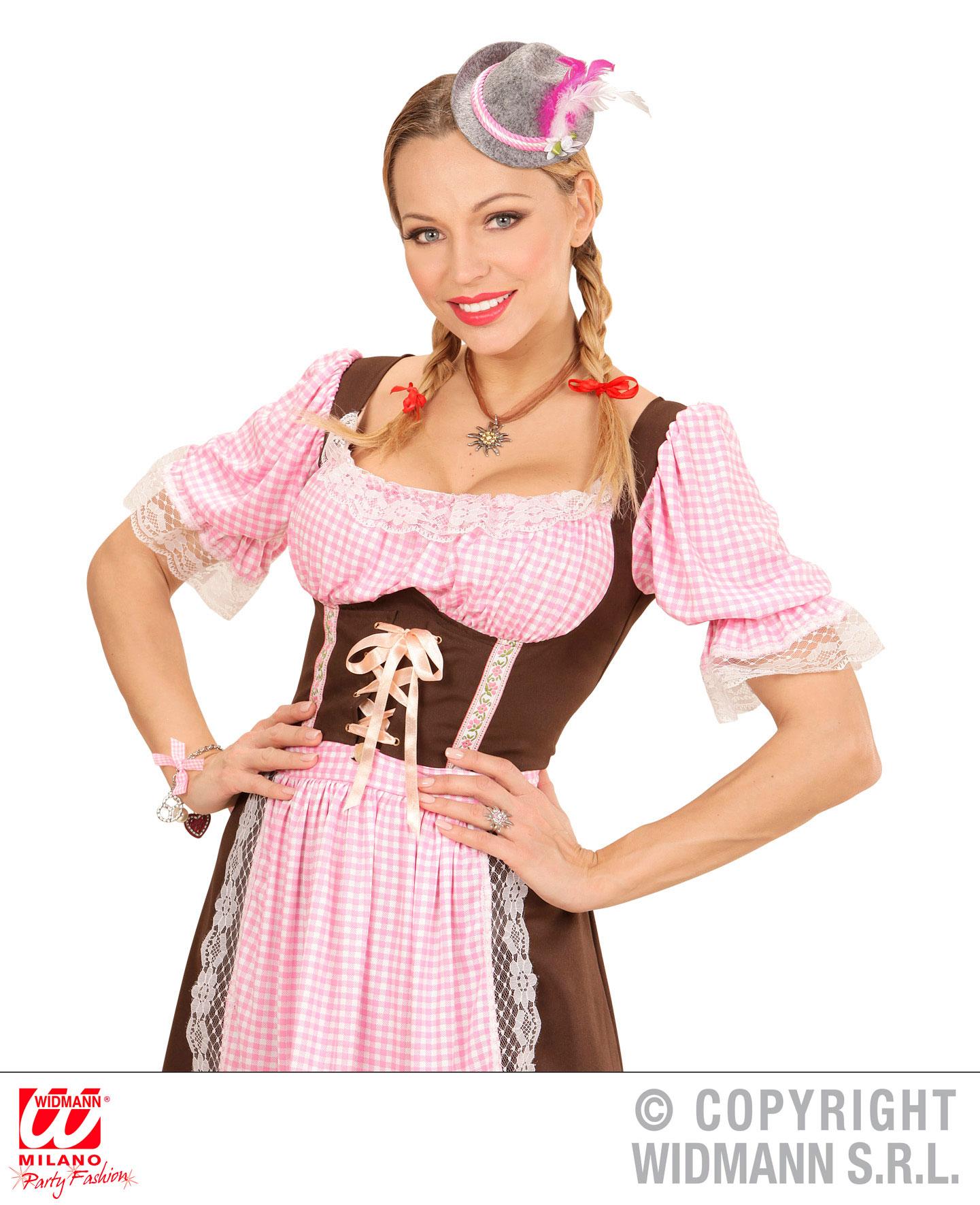 Mini Fedora Hut Edelweiß grau pink Oktoberfest, Feder Haarclip Damen