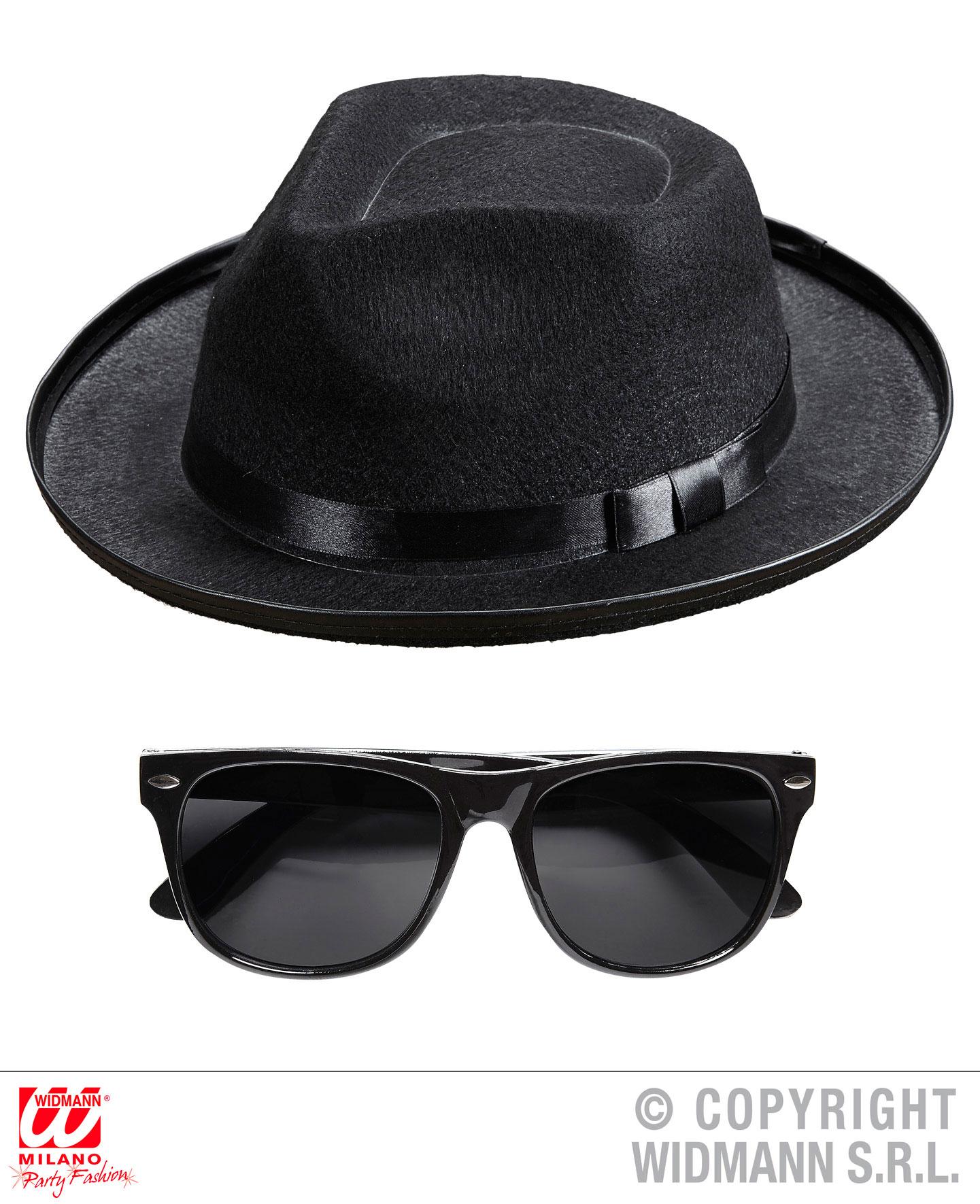 2 tlg Blues Man Hut und Brille schwarz  Al Capone, Gangster Karneval Herren