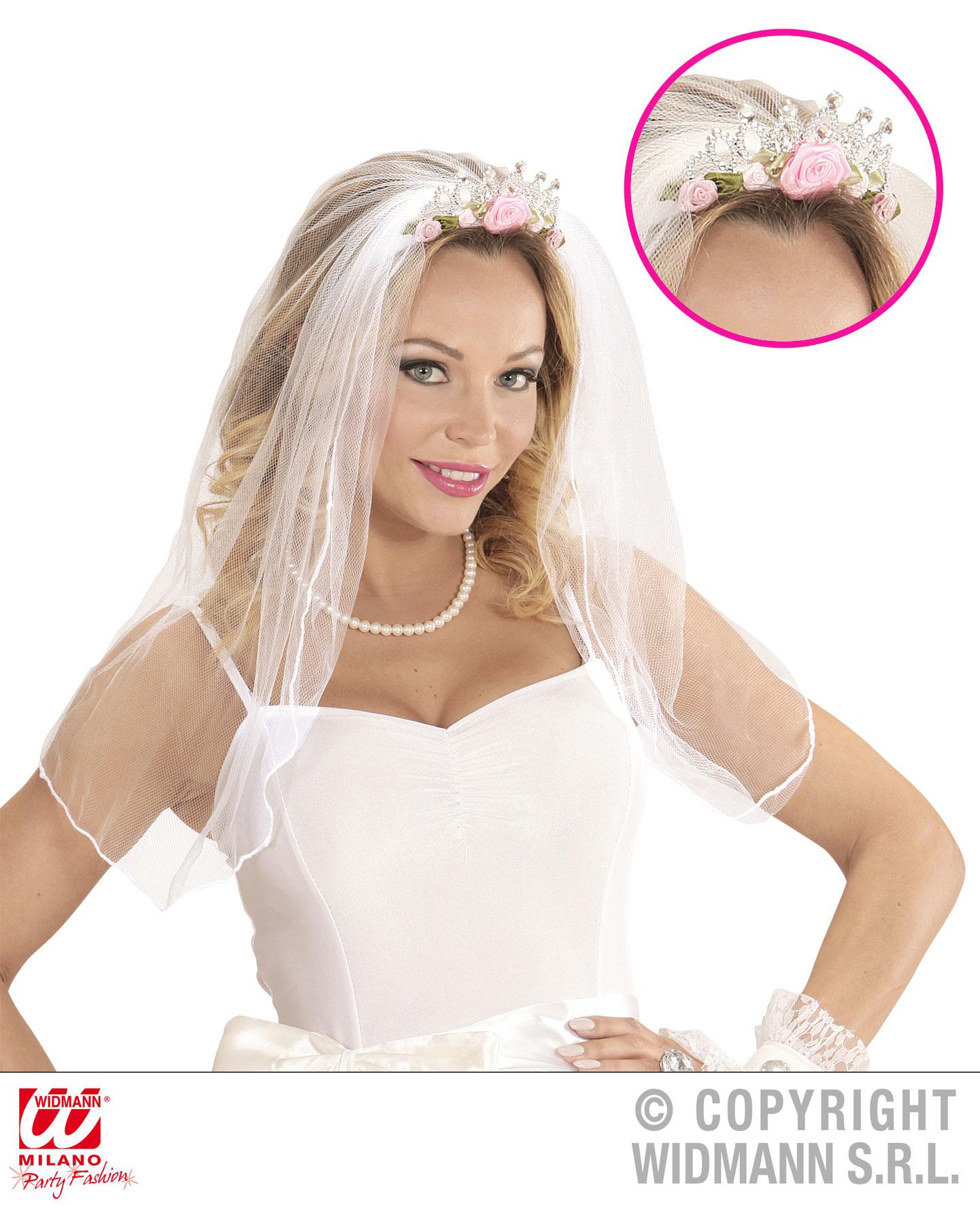Brautschleier weiß, rosa Blümchen, Diadem HaarreifJunggesellenabschied, Hochzeit