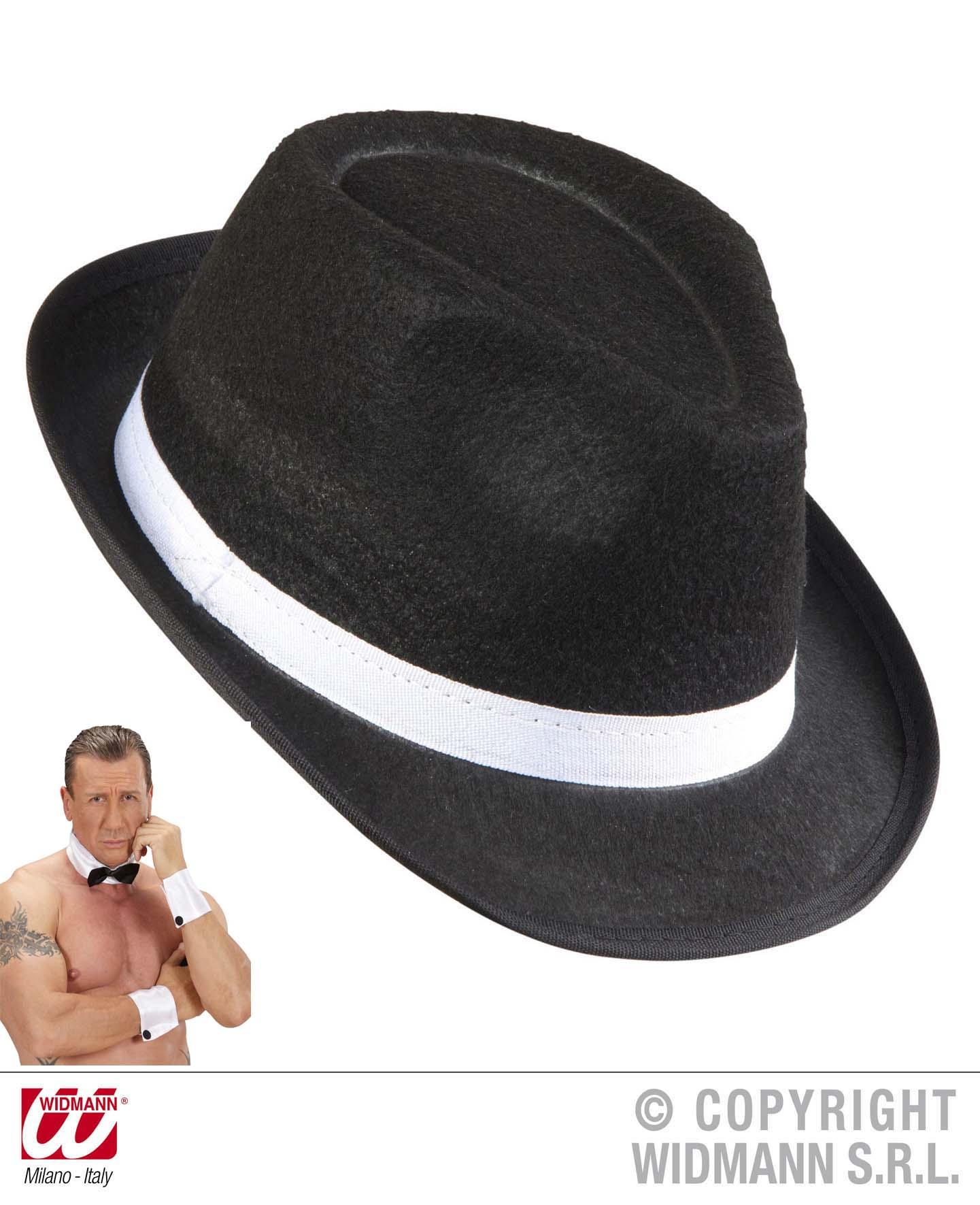 4 tlg Gangster Hut schwarz, Hutband, Fliege, Manschetten Junggesellen