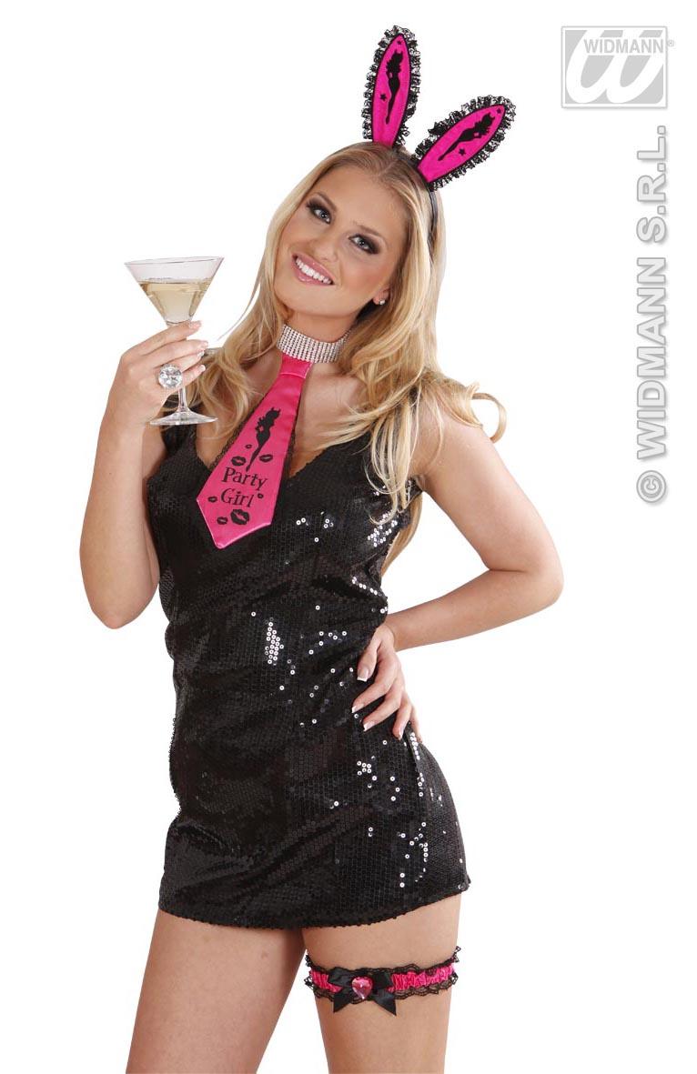 Krawatte Schlips  Satin,Spitz , pink, PARTY GIRL Junggesellenabschied, Hochzeit