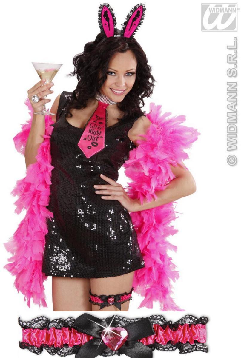 Strumpfband,Spitze schwarz,Satinband + Herz pink,Charleston,Junggesellenabschied