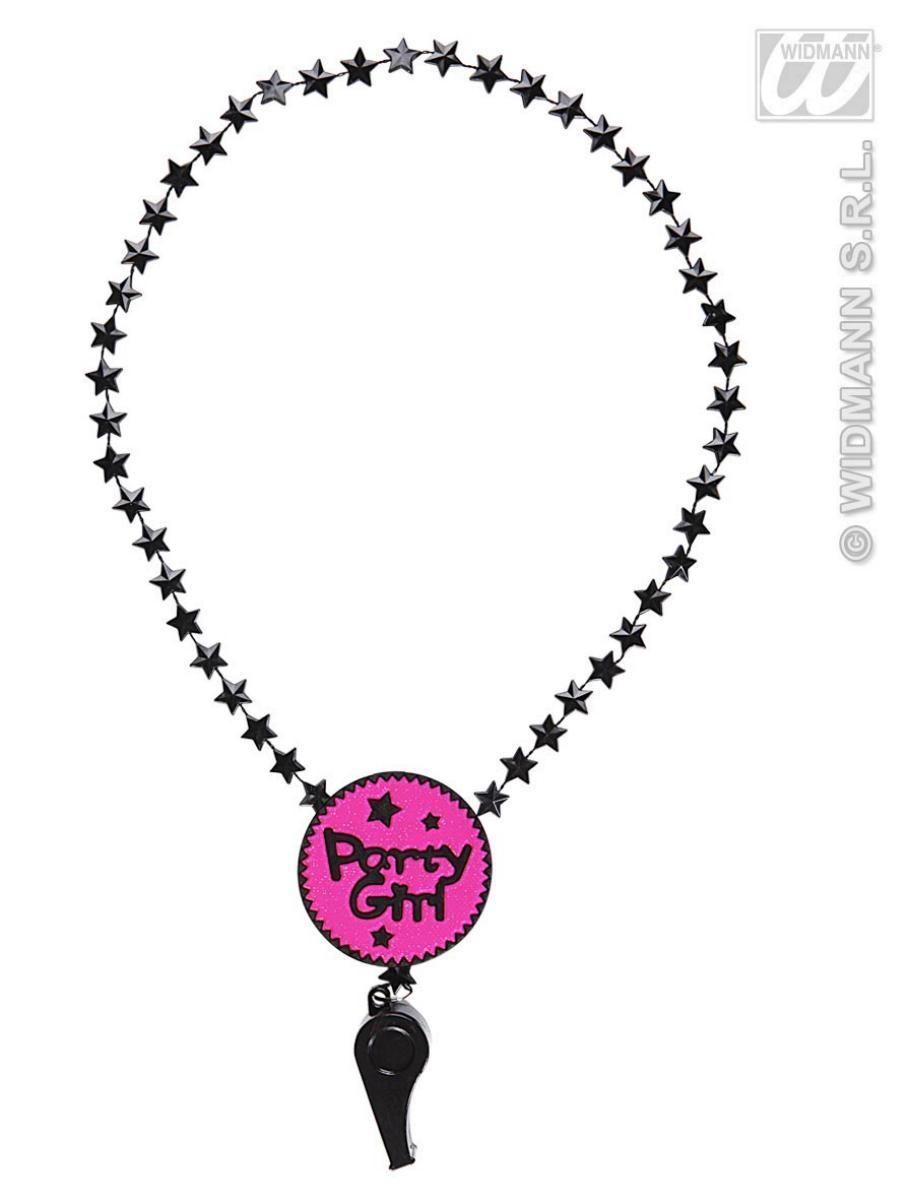 Halskette mit Pfeife, Party Girl, pink schwarz, Junggesellenabschied
