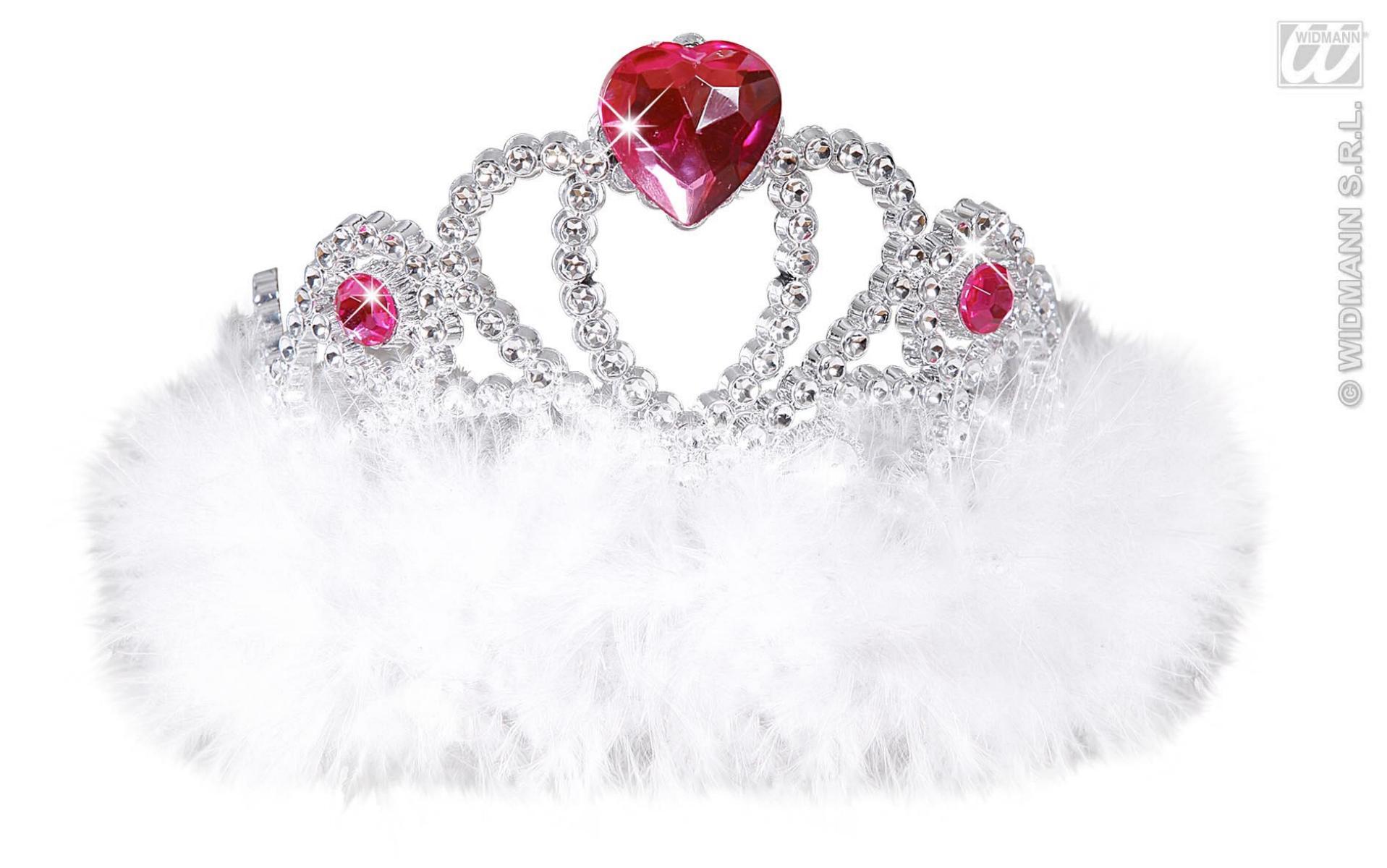 Diadem, Krone weiß oder pink mit Marabou Federn, Junggesellenabschied