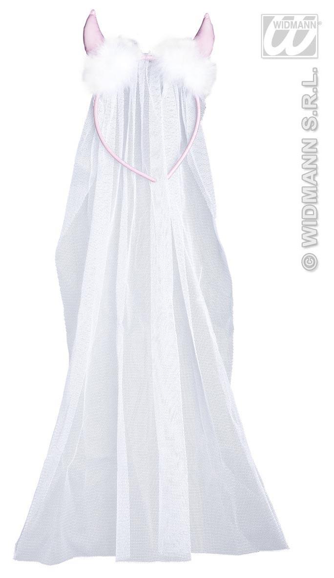 Brautschleier weiß, mit rosa Hörner Junggesellenabschied, Hochzeit 9594