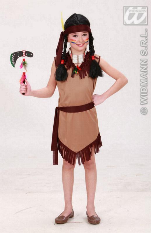 Indianerin Kostüm, Kinder braun Gürtel + Haarband 128,140,158