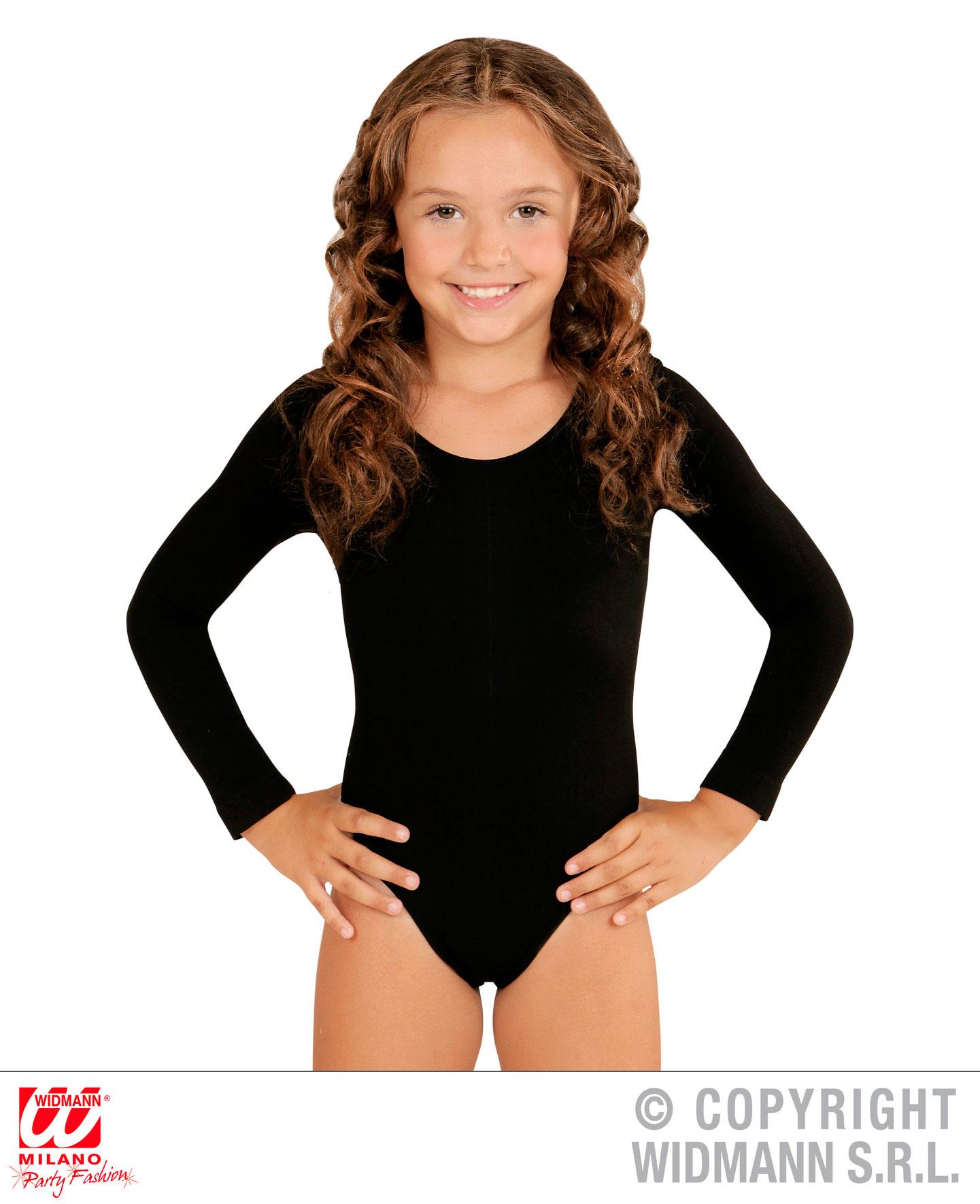 Langarm Body OHNE Bein Einteiler, Overall schwarz 140-152-164 Mädchen