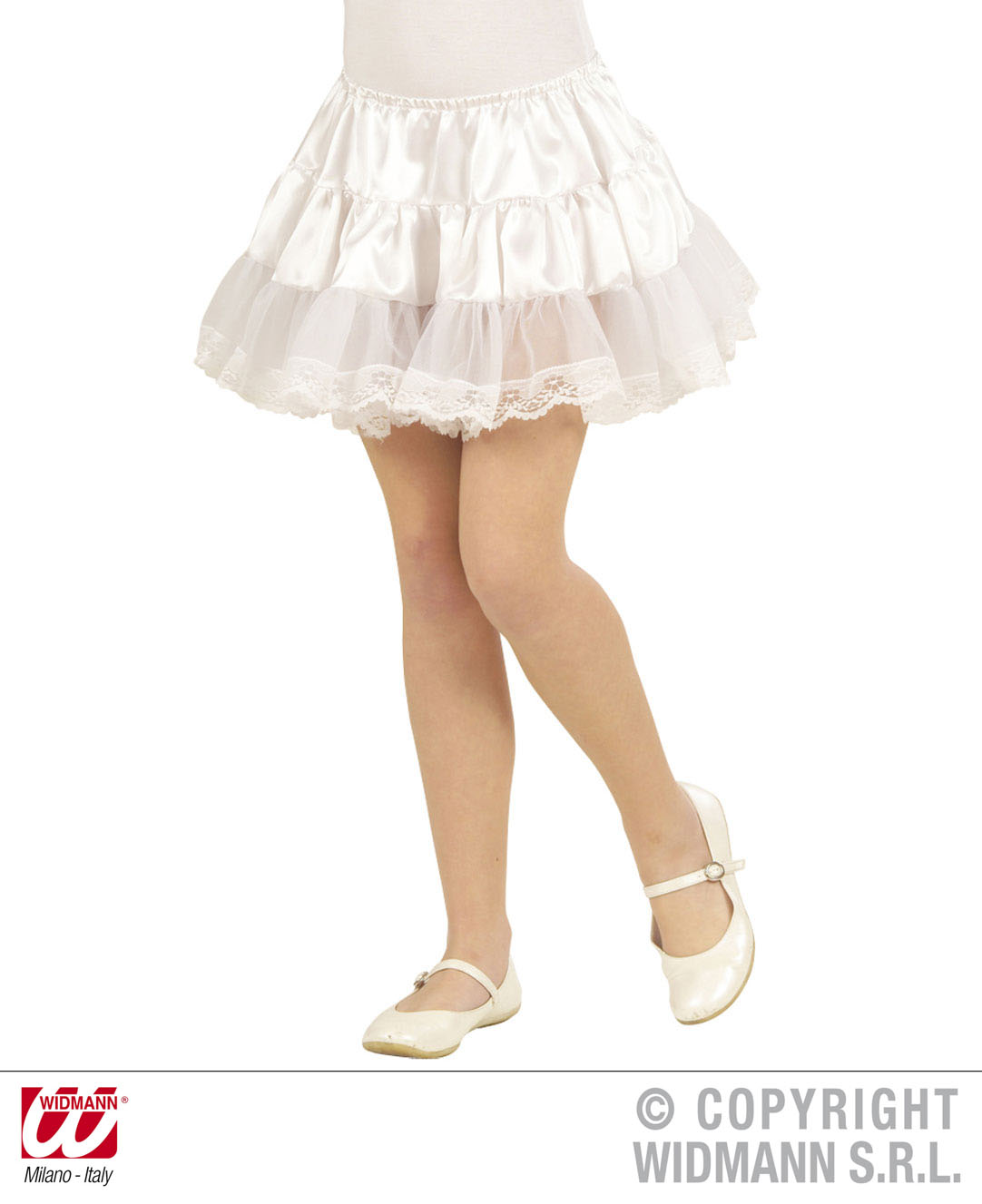 Satin Petticoat Unterrock, kurz, weiß  Kinder, Mädchen  3361