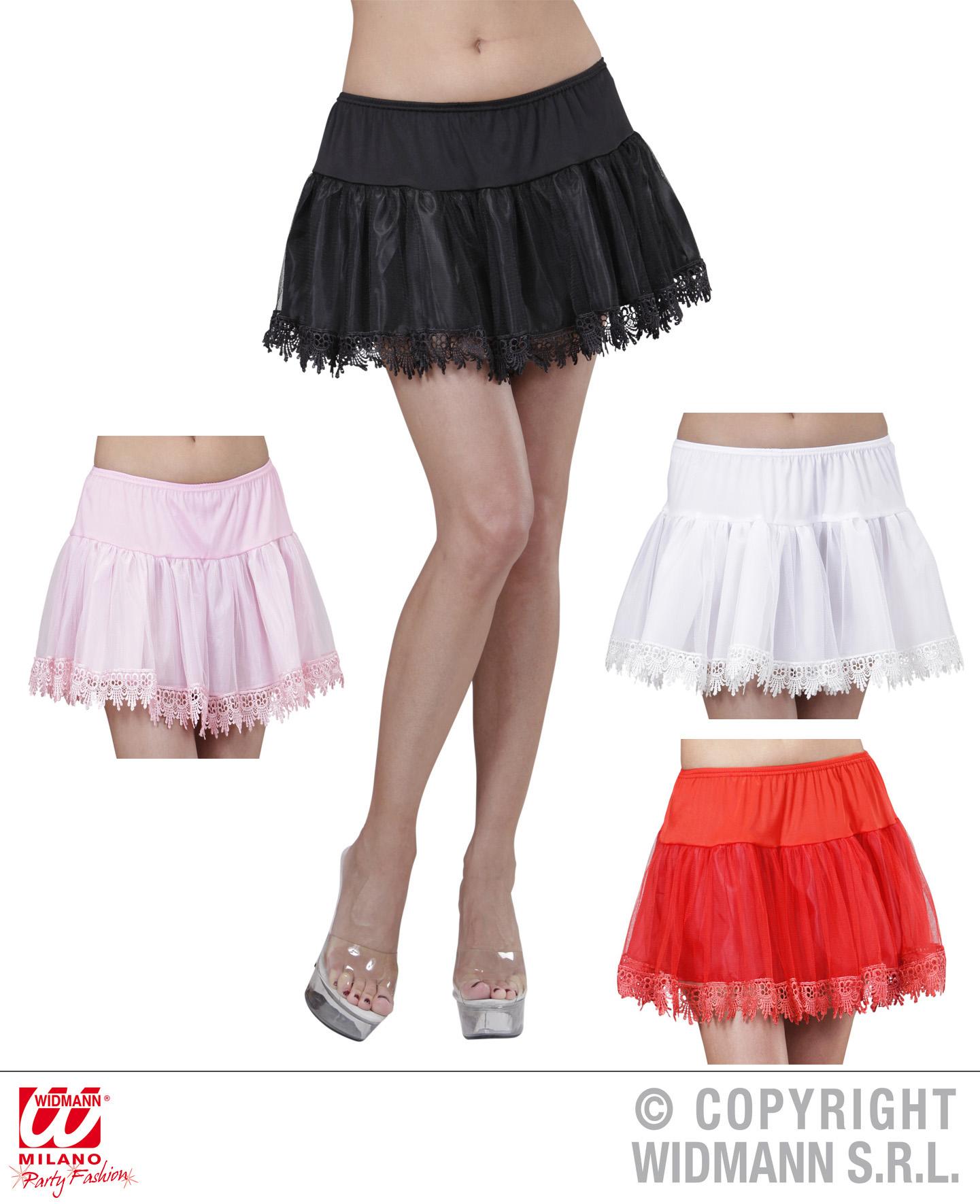 PETTICOAT Unterrock,Spitzenunterrock, weiß, rosa,schwarz, rot Damen 36-38